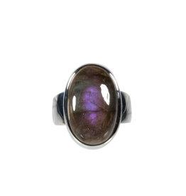 Zilveren ring labradoriet maat 16 3/4 | ovaal 1,9 x 1,2 cm