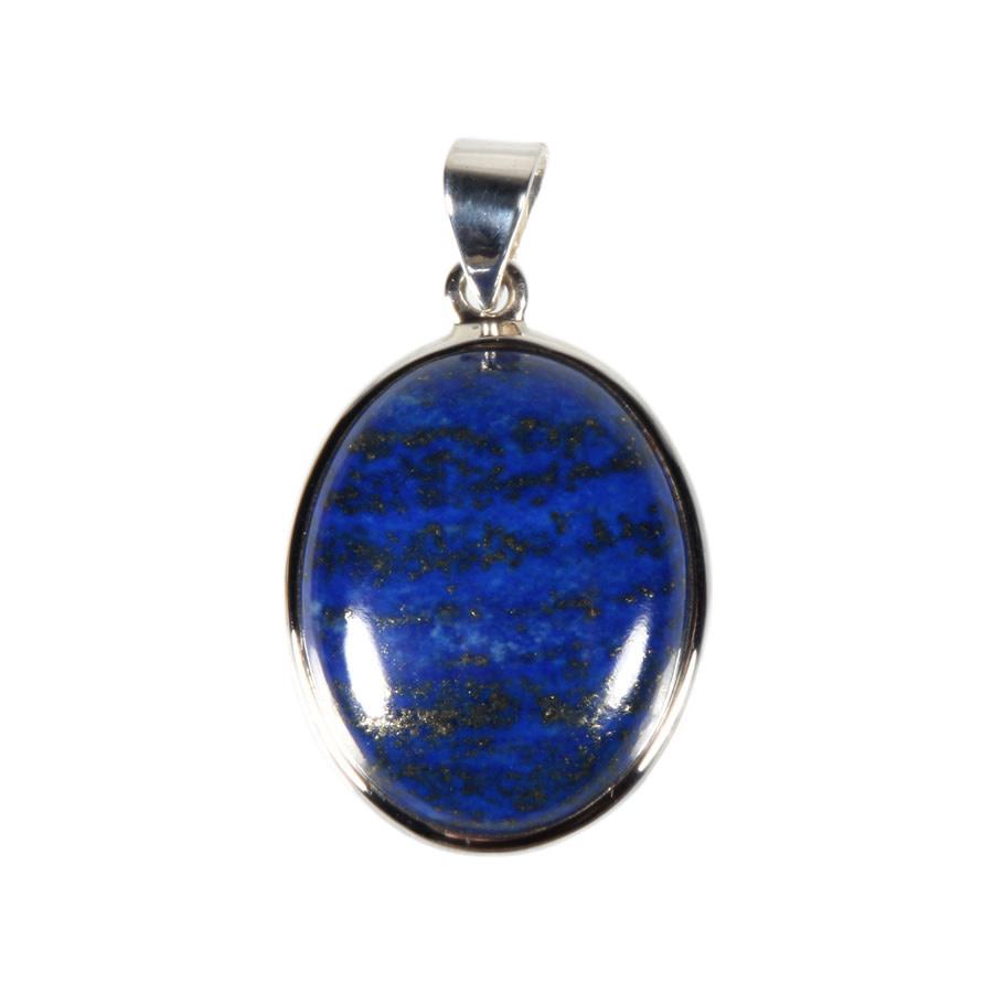 Zilveren hanger lapis lazuli | ovaal 2,8 x 2,3 cm