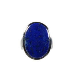 Zilveren ring lapis lazuli maat 17   ovaal 2,1 x 1,5 cm