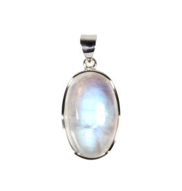 Zilveren hanger maansteen (regenboog) A-kwaliteit | ovaal 2,6 x 1,6 cm
