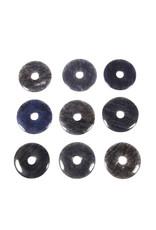Kwarts (blauw) hanger donut 3 cm