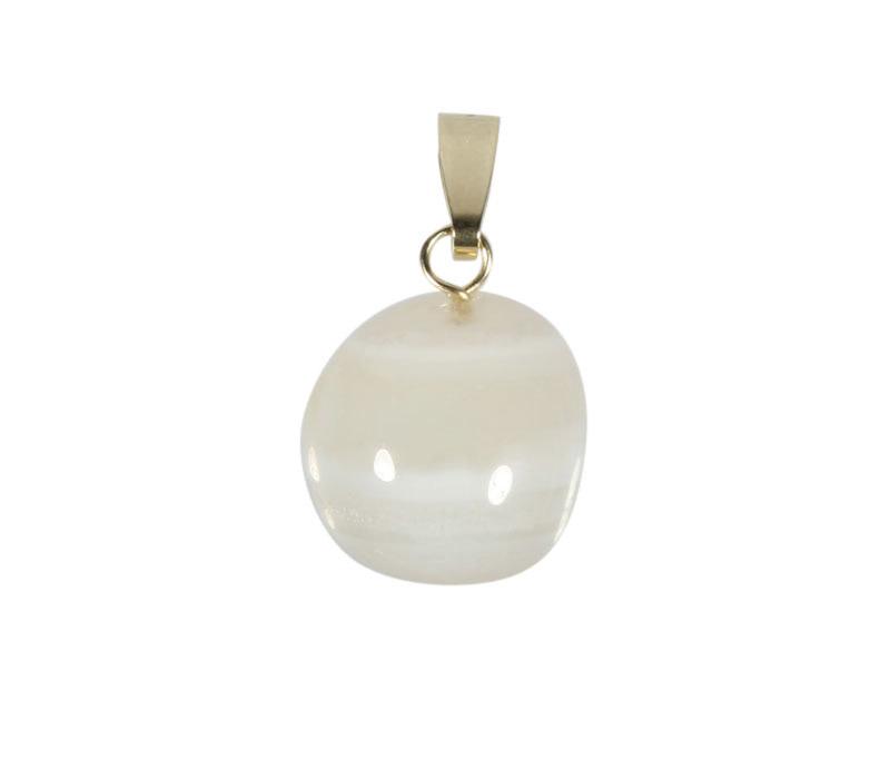 Agaat (wit) hanger met 14k gouden oogje