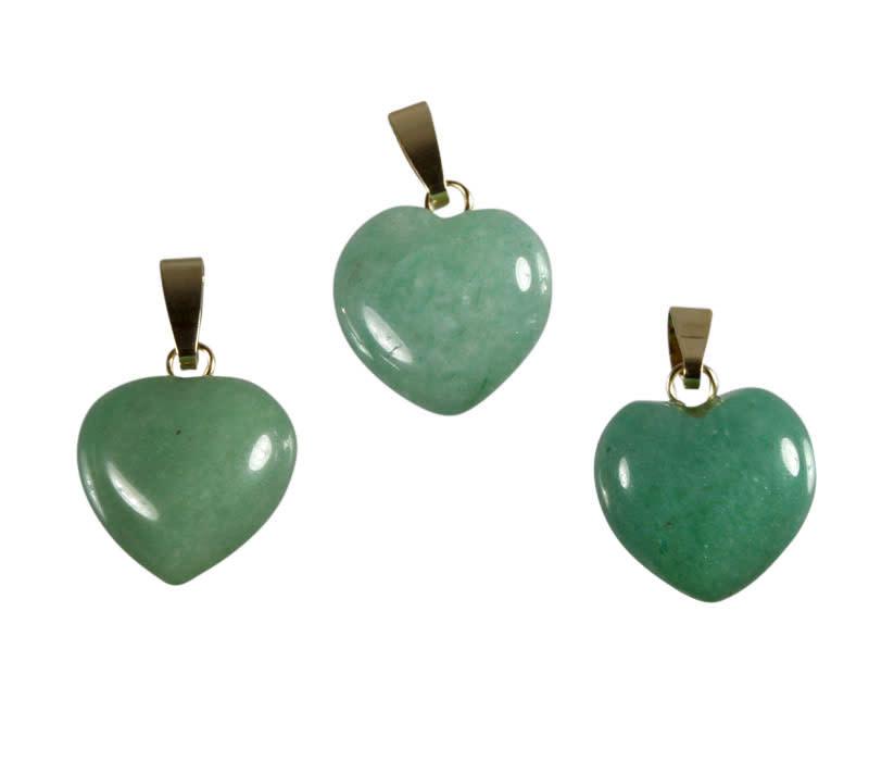 Aventurijn (groen) hanger hart met 14k gouden oogje
