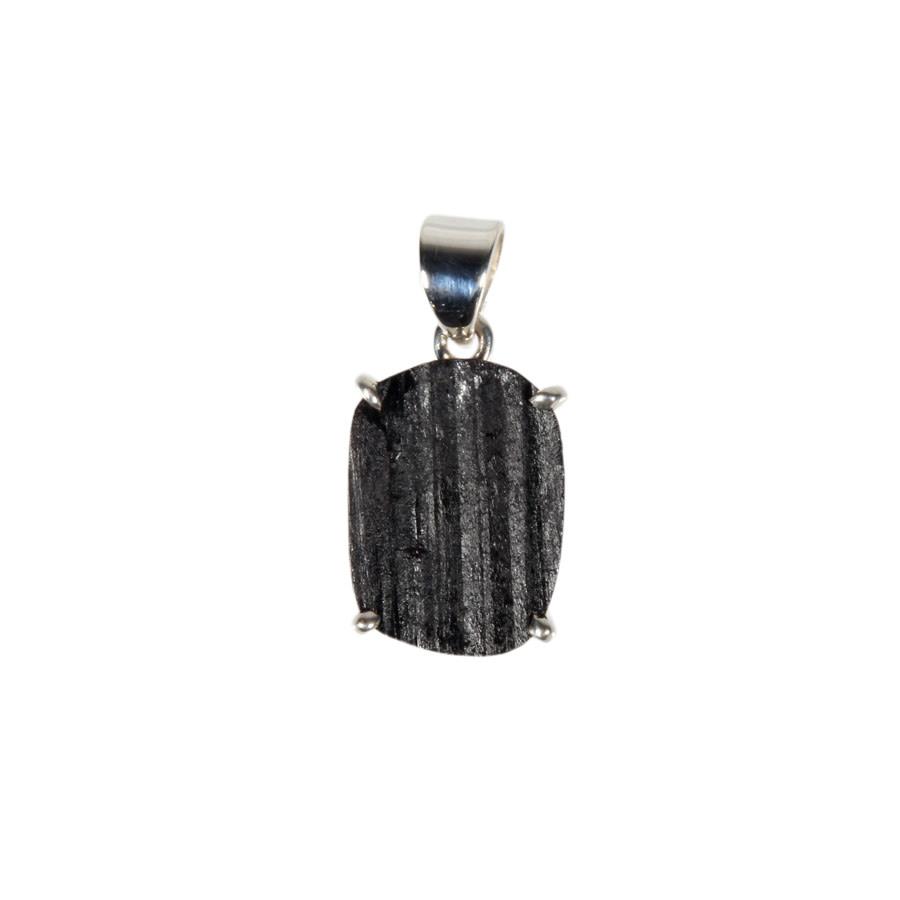 Zilveren hanger toermalijn (zwart) | ovaal ruw gezet 1,7 x 1,2 cm