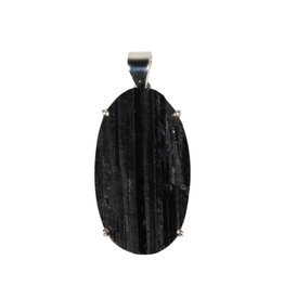 Zilveren hanger toermalijn (zwart)   ovaal ruw gezet 3,8 x 2,2 cm