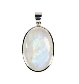 Zilveren hanger maansteen (regenboog) A-kwaliteit | ovaal 3,5 x 2,4 cm