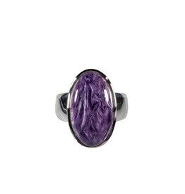 Zilveren ring charoiet maat 17 1/4 | ovaal 2 x 1,1 cm