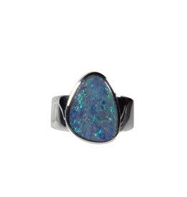 Zilveren ring opaal (Australië) doublet maat 18 | 1,5 x 1,2 cm