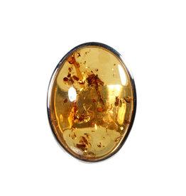 Zilveren ring barnsteen maat 19 1/2 | ovaal 3 x 2,2 cm
