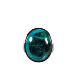 Zilveren ring chrysocolla maat 17 3/4 | ovaal 2 x 1,6 cm