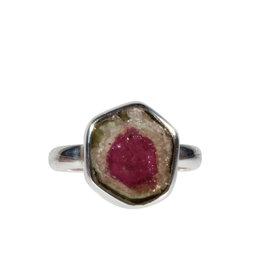 Zilveren ring toermalijn (watermeloen) maat 18 | 1,3 x 1,2 cm