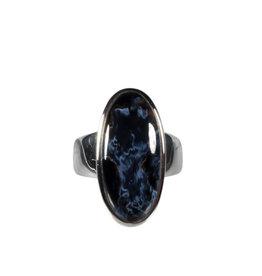 Zilveren ring pietersiet maat 17 3/4 | ovaal 2,8 x 1,1 cm