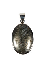 Zilveren hanger pyriet (veer) | ovaal 2,9 x 2 cm