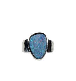 Zilveren ring opaal (Australië) doublet maat 18 | 1,5 x 1,1 cm