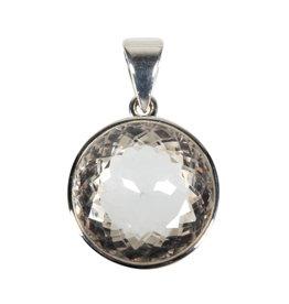 Zilveren hanger bergkristal | rond facet 1,9 cm