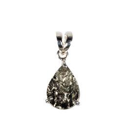 Zilveren hanger pyriet | druppel ruw 1,6 x 1,1 cm