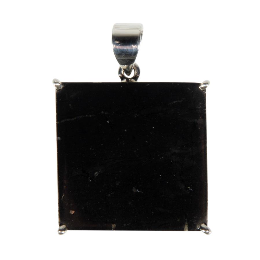 Zilveren hanger shungiet | vierkant gezet 2,5 x 2,5 cm