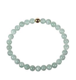 Jade (jadeiet) armband met 14k gouden kraal | 6 mm