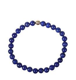 Lapis lazuli A-kwaliteit armband met 14k gouden kraal | 6 mm
