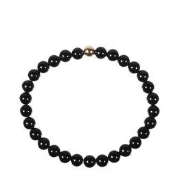 Toermalijn (zwart) armband met 14k gouden kraal | 6 mm