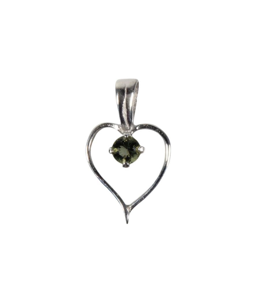 Zilveren hanger moldaviet hartje 1,2 cm