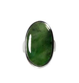 Zilveren ring jade maat 17 1/4 | ovaal 2,6 x 1,5 cm