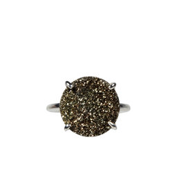 Zilveren ring pyriet maat 17 3/4 | rond 1,4 cm