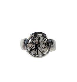 Zilveren ring toermalijnkwarts maat 18 3/4 | rond 1,3 cm