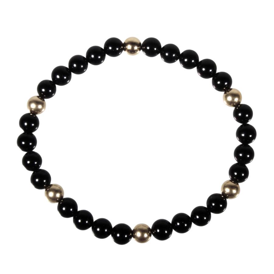 Onyx armband met 6 gouden (14k) kralen