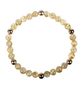 Rutielkwarts armband met 6 gouden (14k) kralen