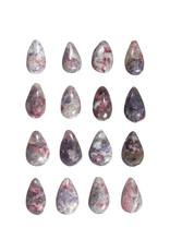Toermalijn (roze) met lepidoliet in kwarts hanger doorboord