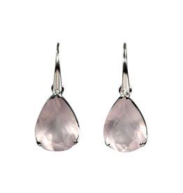 Zilveren oorbellen rozenkwarts druppel facet gezet 1,6 x 1,2 cm