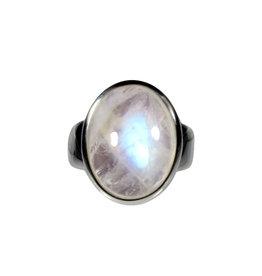 Zilveren ring maansteen (regenboog) A-kwaliteit maat 17 1/4 | ovaal 1,8 x 1,4 cm