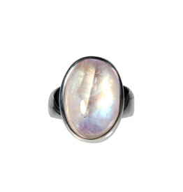 Zilveren ring maansteen (regenboog) A-kwaliteit maat 17 1/4 | ovaal 1,9 x 1,3 cm