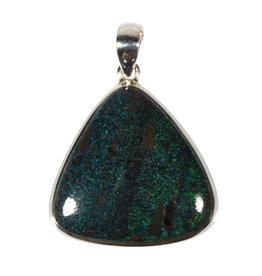 Zilveren hanger opaal (zwart)   driehoek 2,9 x 2,9 cm