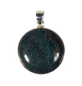 Zilveren hanger opaal (zwart)   rond 2,6 cm