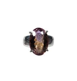 Zilveren ring ametrien maat 17 3/4 | ovaal facet gezet 1,7 x 1,2 cm