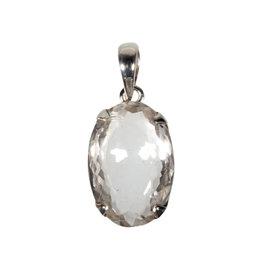 Zilveren hanger bergkristal | ovaal facet gezet 2 x 1,5 cm