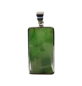 Zilveren hanger jade   rechthoek 3 x 1,6 cm