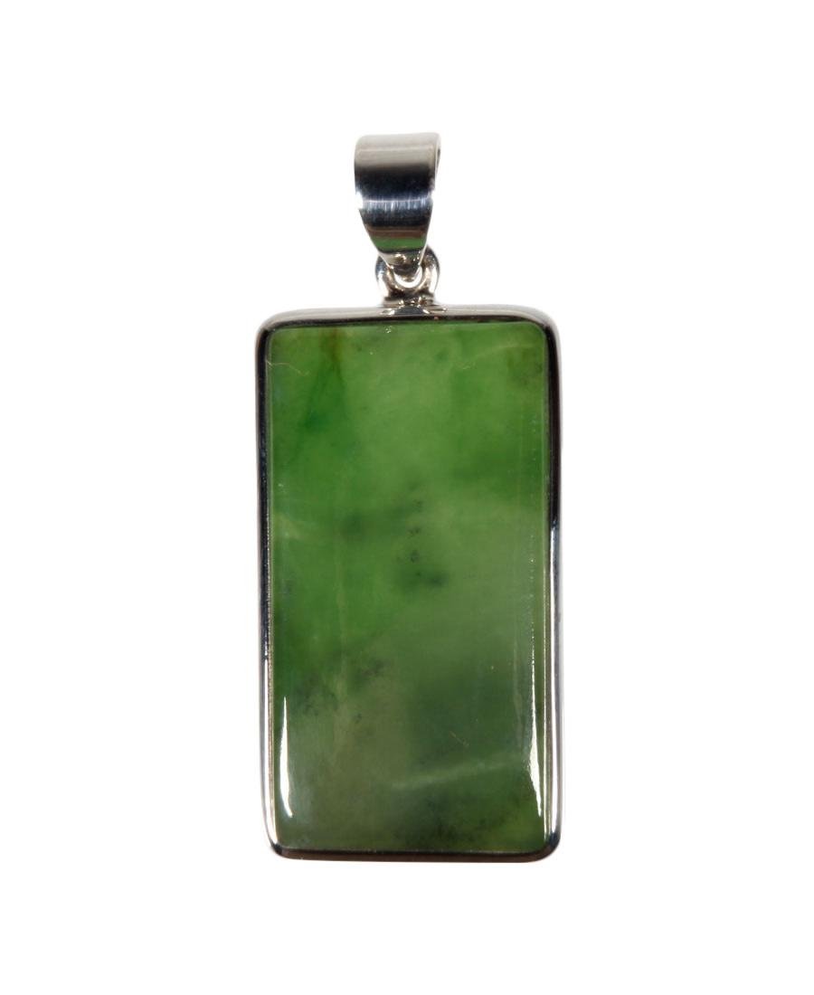 Zilveren hanger jade | rechthoek 3 x 1,6 cm