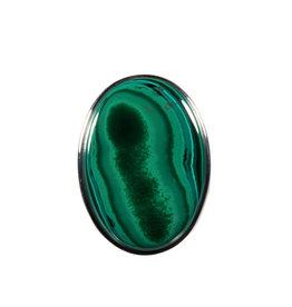 Zilveren ring malachiet maat 19 | ovaal 2,8 x 1,9 cm