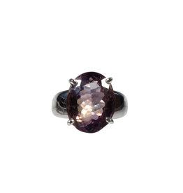 Zilveren ring ametrien maat 17 1/2 | ovaal facet gezet 1,5 x 1,2 cm