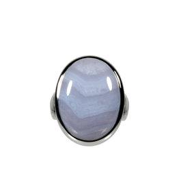 Zilveren ring chalcedoon maat 17 3/4 | ovaal 2,7 x 1,7 cm