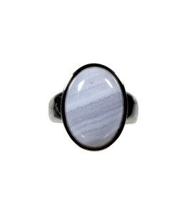 Zilveren ring chalcedoon maat 18 1/4 | ovaal 1,9 x 1,3 cm
