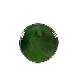 Zilveren ring jade maat 18 3/4 | rond 2,3 cm