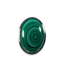 Zilveren ring malachiet maat 18 1/4 | ovaal 2,7 x 2 cm