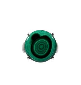 Zilveren ring malachiet maat 18 3/4 | rond gezet 1,8 cm