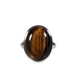 Zilveren ring tijgeroog maat 18 1/2 | ovaal 2 x 1,4 cm