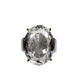 Zilveren ring bergkristal maat 18 | ovaal facet gezet 2,1 x  1,7 cm