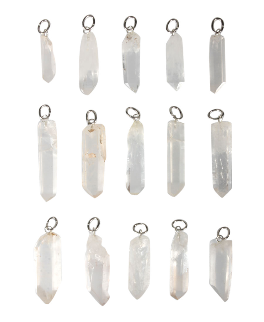 Bergkristal hanger punt met zilveren oogje